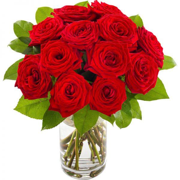 """""""100 prosent kjærlighet"""" - rød rosebukett med store røde roser hos nettblomst.no"""