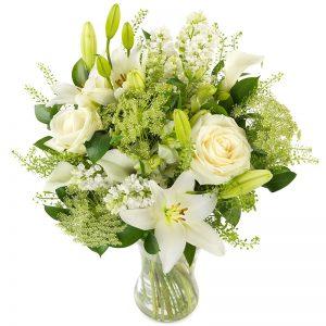 Dekoratørens hvite blomtserbukett fra nettblomst.no