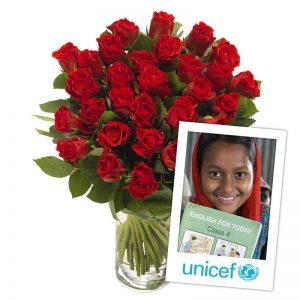 Dobbel kjærlighet UNICEF blomsterbukett fra nettblomst.no