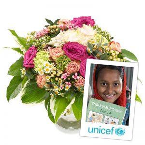 Fortryllende UNICEF blomsterbukett fra nettblomst.no