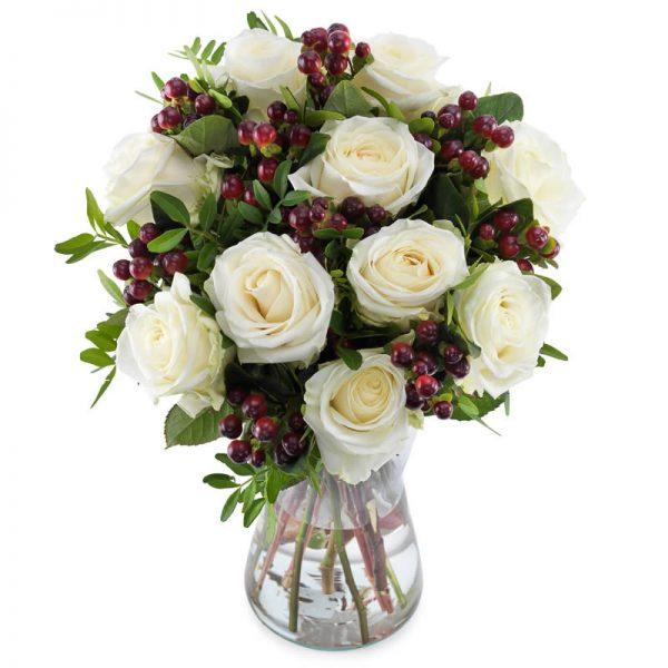 Hvite roser rosebukett hos nettblomst.no