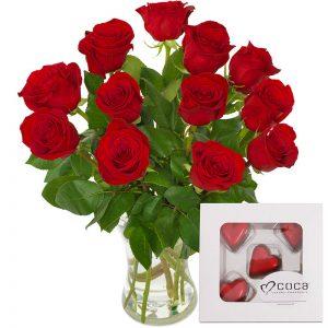 Roser og sjokolade gavesett fra nettblomst.no