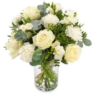 Uforglemmelig blomsterbukett med hvite blomster fra nettblomst.no
