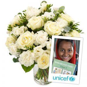 Uforglemmelig UNICEF blomsterbukett fra nettblomst.no