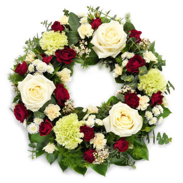 Elegant begravelseskrans fra nettblomst.no