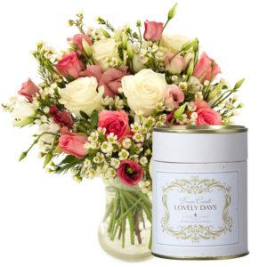 Rosedrøm rosebukett med duftlys fra nettblomst.no